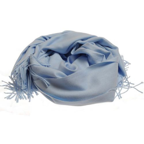 Plain extra soft pashmina style scarf in pale blue